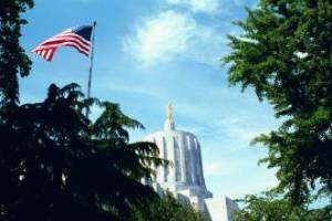 InfoSENTRY Photo of Oregon State Capitol dome with the gold Pioneer on top. Blue sky in the background and American Flag in the foreground. Oregon statewide voter registarion system.